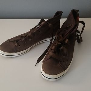 Keds leather high top sneakers metallic brown